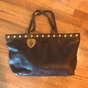 Guccci Brown Leather Bag with Studs